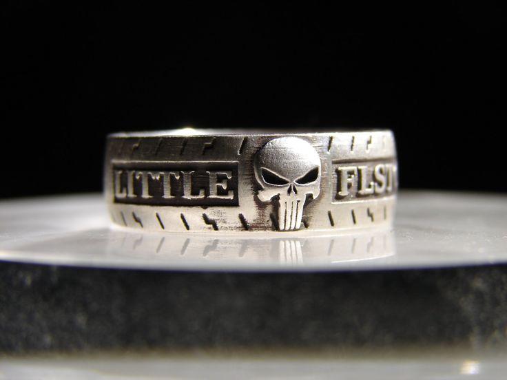 Harley Davidson ring. Hard knocks class ring. Biker ring. Punisher ring. Harley Davidson class ring. Biker wedding set. Harley wedding set. by JimLittleJewelry on Etsy