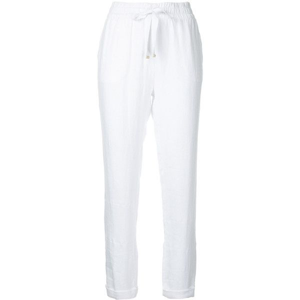 Venroy drawstring cropped trousers ($71) ❤ liked on Polyvore featuring pants, capris, white, white crop pants, linen drawstring pants, cropped pants, white pants and white cropped trousers