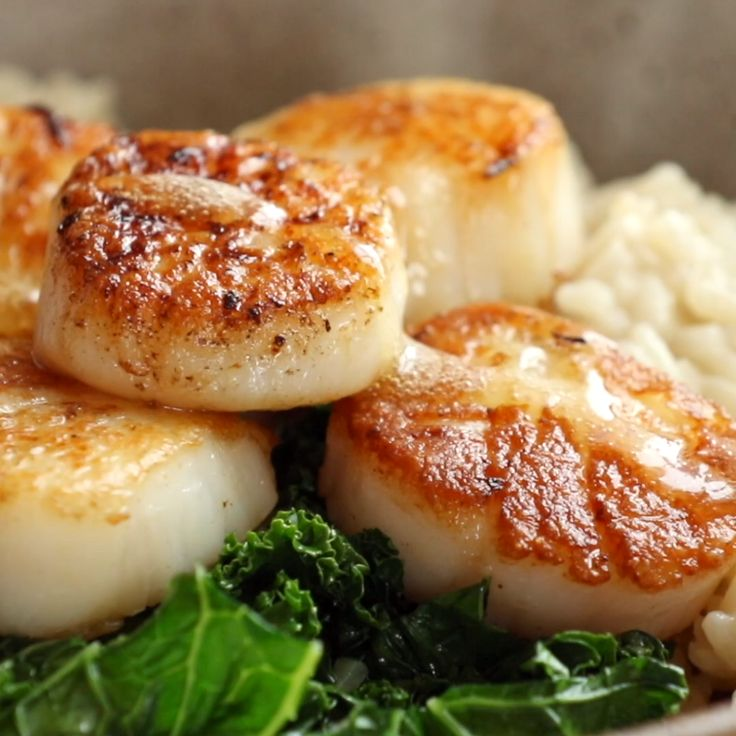 Brown Butter Scallops with Parmesan Risotto Made w…