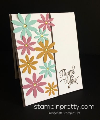 Oh So Succulent Framelits daisy thank you card. Mary Fish, Stampin' Up! Demonstrator.  1000+ StampinUp & SUO card ideas.  Read more https://stampinpretty.com/2017/04/inspired-by-color-delightful-daisy-thank-you-card.html