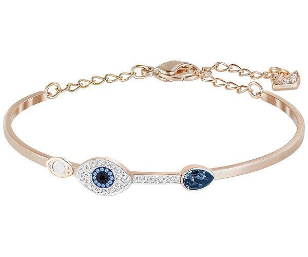 Designed with Miranda Kerr, this stunning mixed-plated bangle offers a striking contrast between rose gold-plated metal, crystal pavé, and blue... Shop now