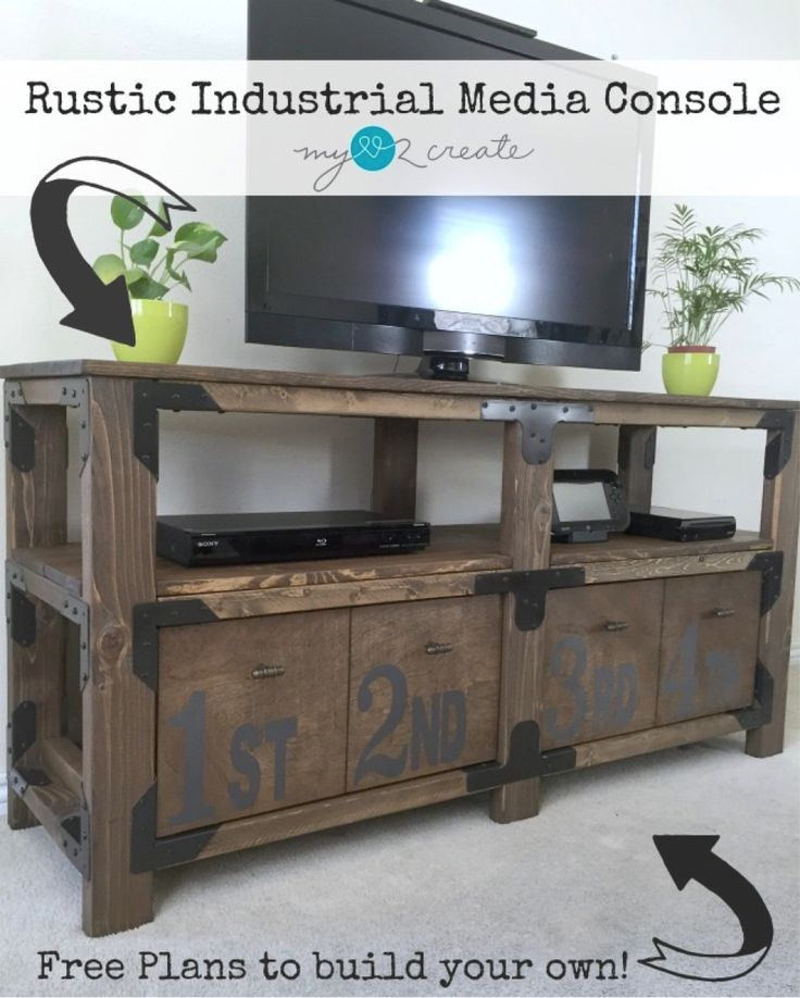 Free Plans to build a beautiful Rustic Industrial Media Console, MyLove2Create
