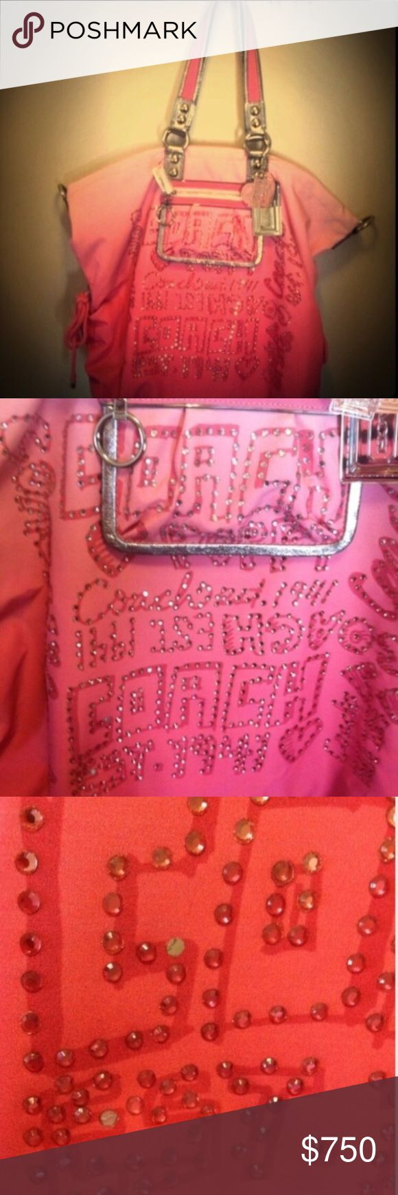 New Coach Poppy Purse 🆕💗Limited Edition Coach Poppy Purse💗authentic💗number is in fourth pic💗pretty pink color💗new with tags💗missing two rhinestones that is how I bought it❌NO TRADES❌please do not ask to trade💗I am not in a hurry to sell this...I might just keep it...will sell for the right price...I am open to reasonable offers with the offer button Coach Bags