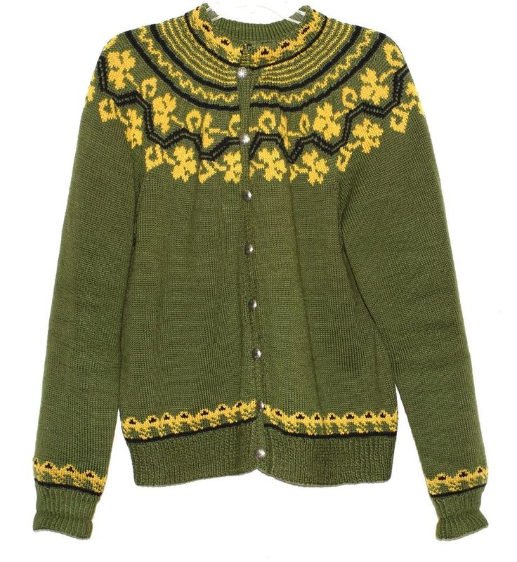 Maurtua Norway Oslo Hand Knit Green & Tan Womens Cardigan Wool Sweater Size XL #Maurtua #Cardigan #Anytime