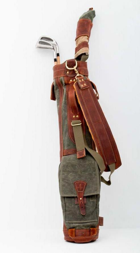 Steurer Jacoby Pencil Style Golf Bag In Olive Wax Cotton Duck Canvas With Bison Leather Trim 100 Handcrafted The Usa Golfbags