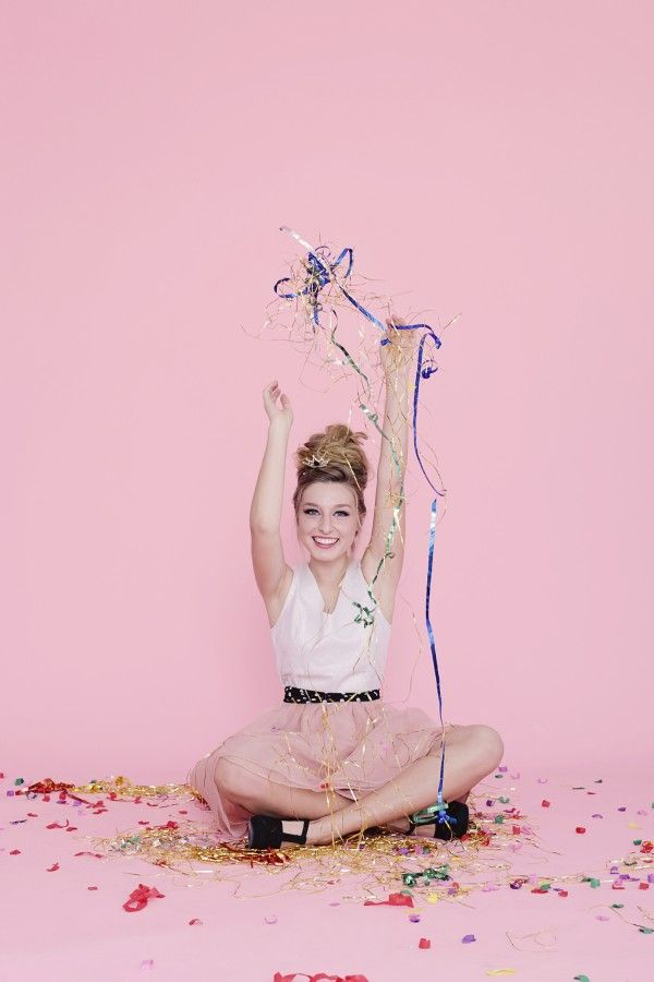 Glitter Girl: Cloe Lane Of Bon Pouf Perfect picture. Beautiful blonde with confetti. Photography by Kimberly Genevieve