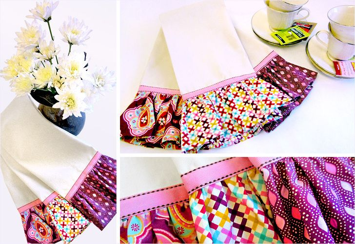 Tea Towels with Jumbo Ruffles DIY.... how adorable are these?  And great gifts, too.