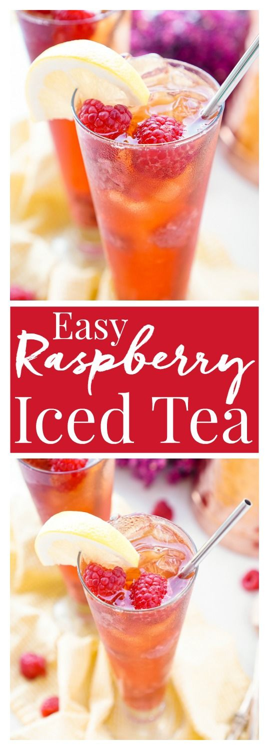 This Easy Raspberry Iced Tea recipe is a refreshingly sweet drink you'll want to sip all summer long! Made with just 4 ingredients, you can have a large party pitcher ready with only 10 minutes of work. #GetReadyForGold #ad