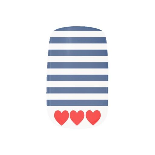 False Nails, Navy Nautical Stripes and Red Hearts. Spring/Summer 2015