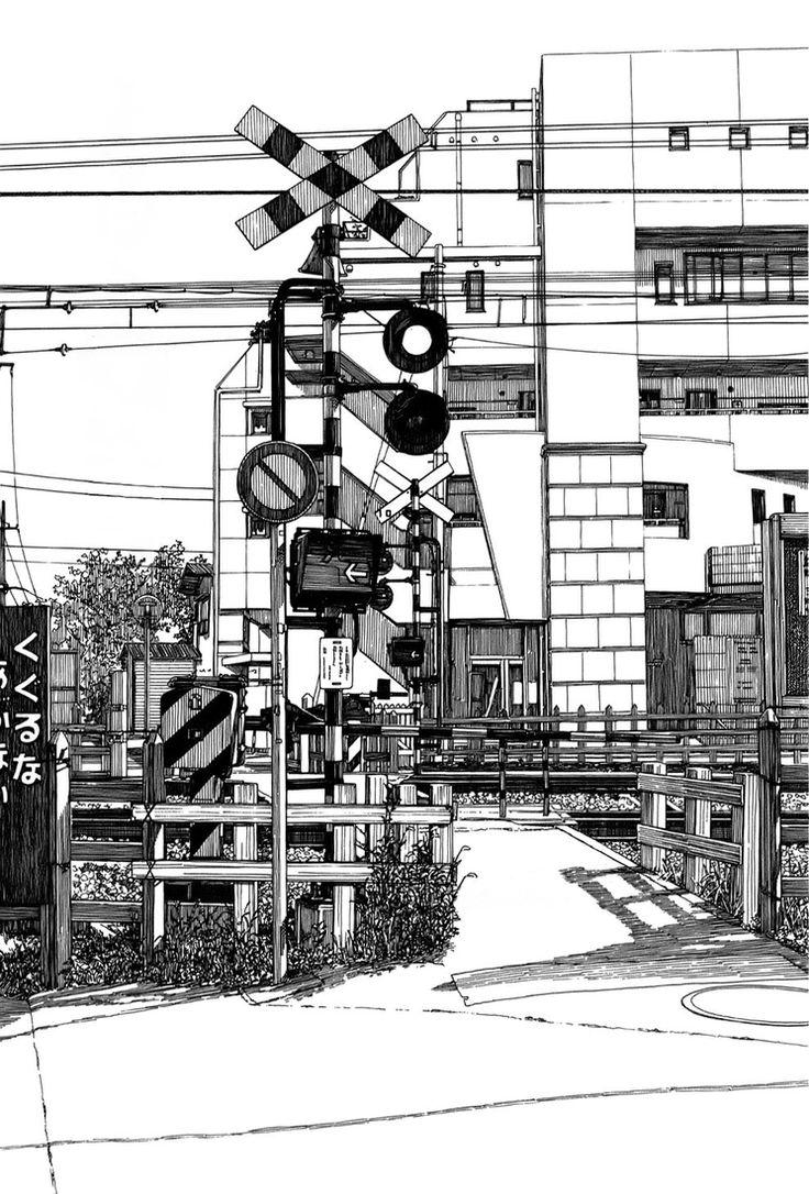 08-Kiyohiko-Azuma-Architectural-Urban-Sketches-and-Cityscape-Drawings-www-designstack-co