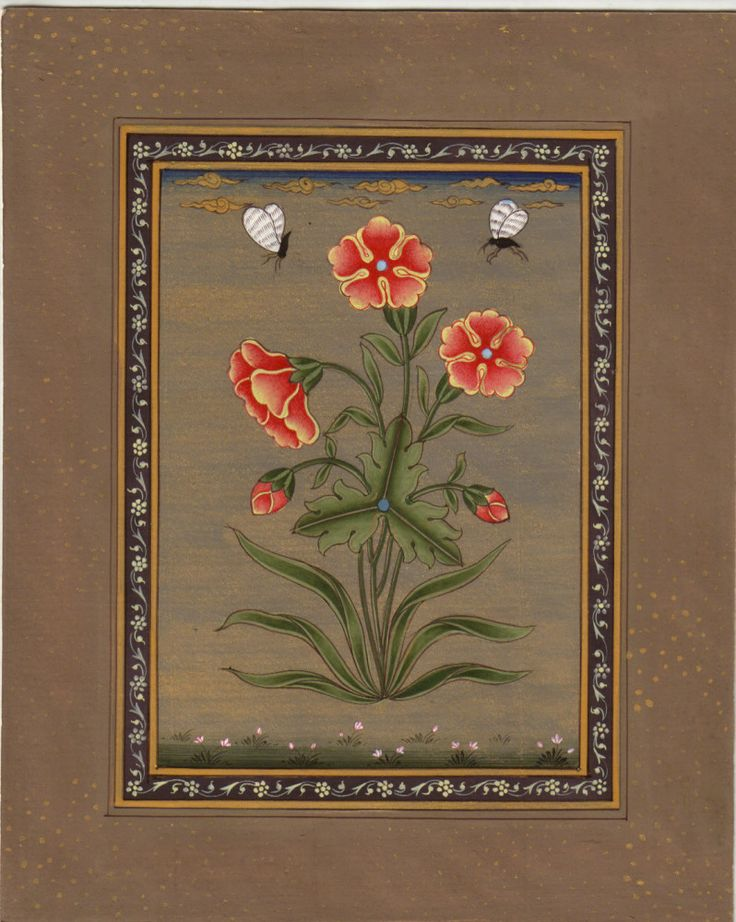 Indian Mogul Floral Miniature Art. Flowering plants and gardens are potent metaphors in Islamic culture. They evoke the splendor of paradise and signify the realization of perfection, likened to the spiritual path of grace.
