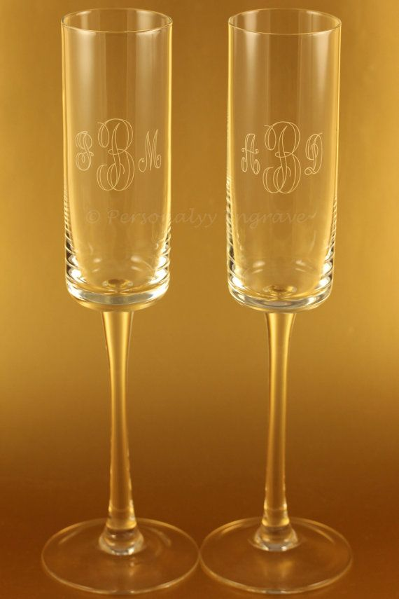 Unique hand blown square bottom rustic champagne glass flutes champagne colored bride groom - Unusual champagne flutes ...