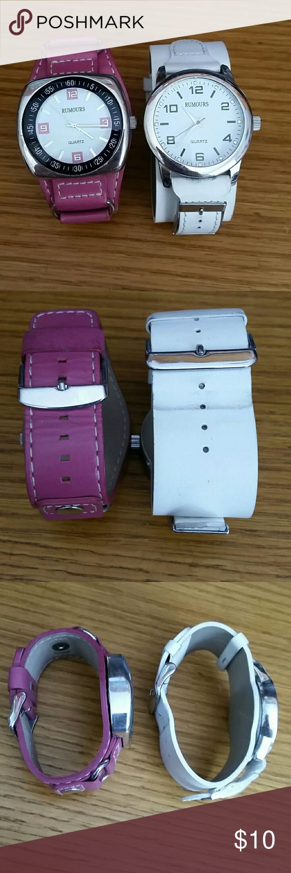 One bundle of 2 Leather Rumours Watches Bundle of 2 Rumours watches with thick leather biker style bands. Both have been worn before and do show signs of wear. *please look at all photos carefully*. BOTH WATCHES WORK BUT DO REQUIRE NEW BATTERIES. One band is pink and the otber white Rumours Accessories Watches
