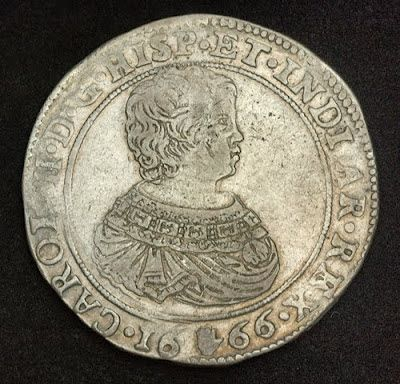 Spanish Netherlands coins Brabant Silver Ducaton Coin, Charles II of Spain, Mint Date 1666.  Obverse: Draped bust of the then very young Charles II right, wearing Toison d'or Order on shoulders.