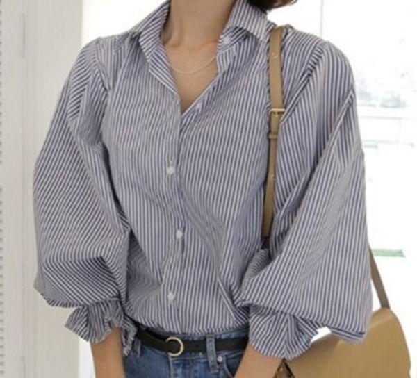 ふんわかバルーンパフ袖♪フレアーお袖口のストライプ柄シャツ