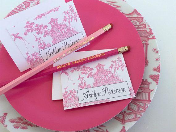 Blue or Pink Ginger Jar Calling Cards/Gift Enclosures, Set of 25 with Envelopes