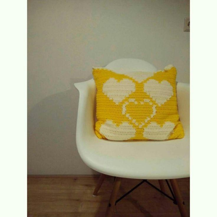 Hand made cushion #hearts#crochet #handmade #deco#handmadeshop #waitingyourorders