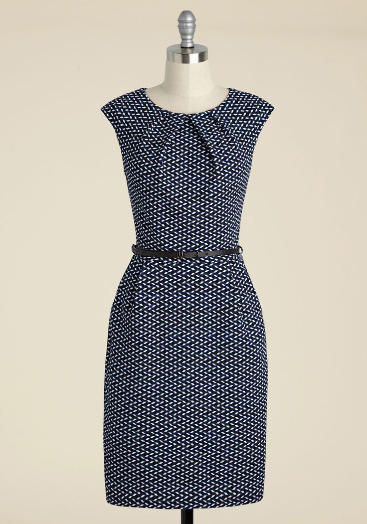 Teaching Classy Sheath Dress in Parallelograms. Share your knowledge with admiring students while delivering a bonus lesson in chic style - as exemplified by this cobalt sheath. #blue #modcloth