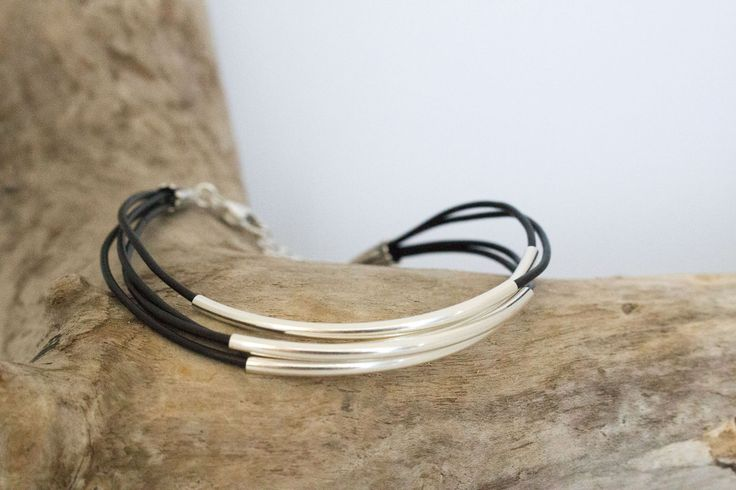 Sterling Silver Tube & Black Leather Lace Bracelet, Minimal  Modern Everyday Jewelry, Handcrafted, Gift for Her by IvanRoseCreations on Etsy