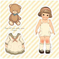 vintage paper doll plakbriefjes