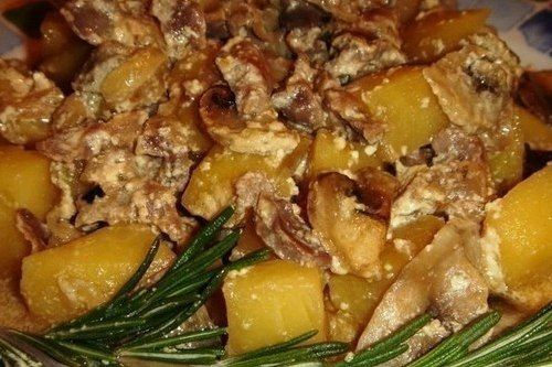 Жаркое с куриными желудочками и грибами   Мясные рецепты ...