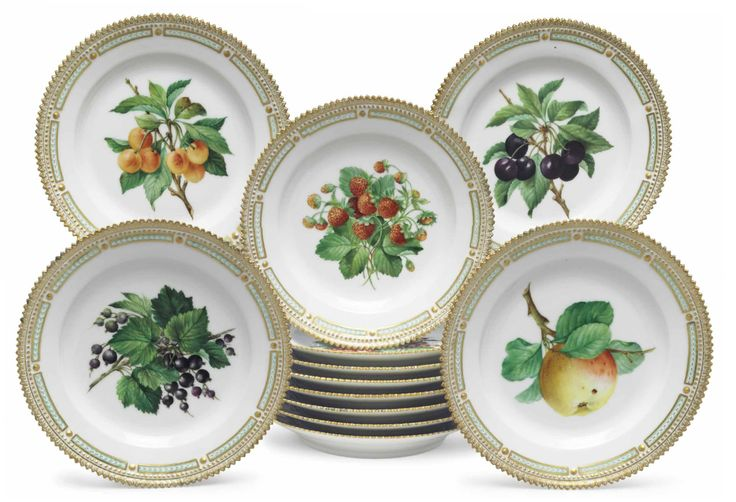 TWELVE ROYAL COPENHAGEN PORCELAIN 'FRUIT SERVICE' PLATES 20TH CENTURY, BLUE WAVE AND GREEN PRINTED MARKS, PATTERN NO. 429, SHAPE NO. 3573 Each finely painted with fruit, within a 'Flora Danica' style gilt beaded border and further gilt serrated rim