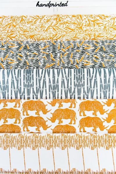 African Vibration - Contemporary African designs. Gabi Foliage, Fish Frenzy, Bamboo Forest, Rhino Shields, Reed Reflection. (Top to Bottom) Hand printed on 100% cotton