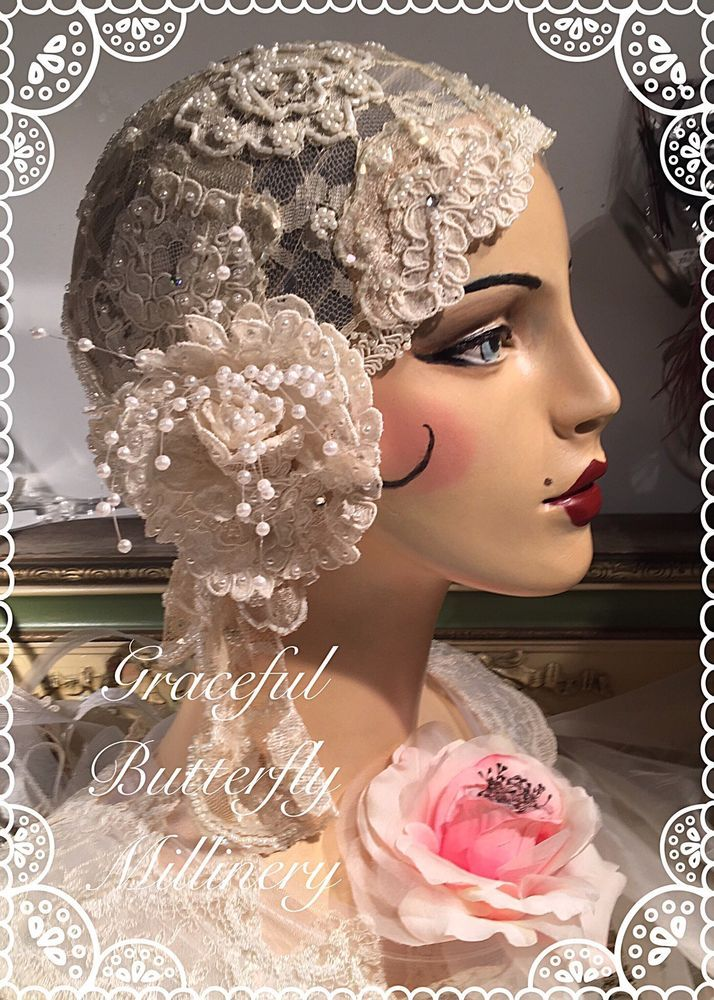 ROARING 20s FLAPPER WEDDING IVORY LACE PEARLS ROSE GATSBY BRIDAL CLOCHE HAT