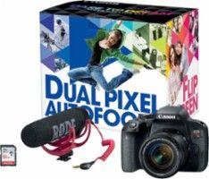 Canon - EOS Rebel T7i DSLR Camera with EF-S 18-55mm IS STM Lens Video Creator Kit - Black - Front Zoom
