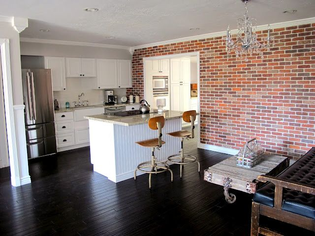 Faux Brick Wall, The Moulding, The Bar Stools, Milk Crate, Coffee Table