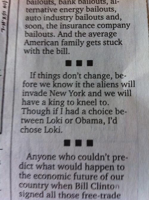 Apparently writer of  Wichita newspaper opinion column  is also a  member of Loki's Army :)