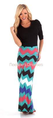 Mint and Coral Chevron Maxi Skirt | Trendy Modest Clothing | Chevron Maxi Skirt
