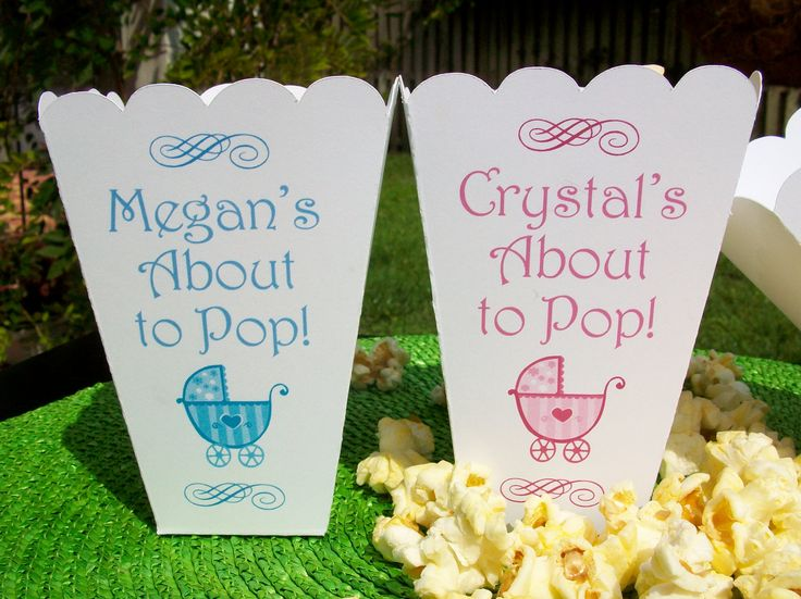 Personalized Baby Shower About to Pop Popcorn Boxes by 6elmdesigns, $37.50