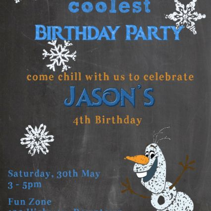 Birthday party invitation with Frozen theme and olaf character on chalkboard