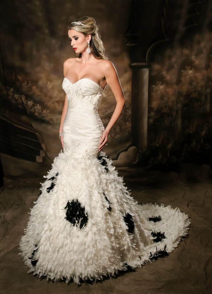 White wedding dress with black feathers