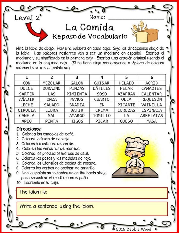 This is a fun way for second year Spanish students to review food vocabulary and learn a new idiom at the same time. The entire worksheet is in Spanish.
