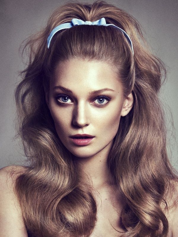 70s Hairstyles 70s hairstyles names Half Up Half Down Pony With Pale Blue Ribbon 70s Hairstyleshaircutsribbon