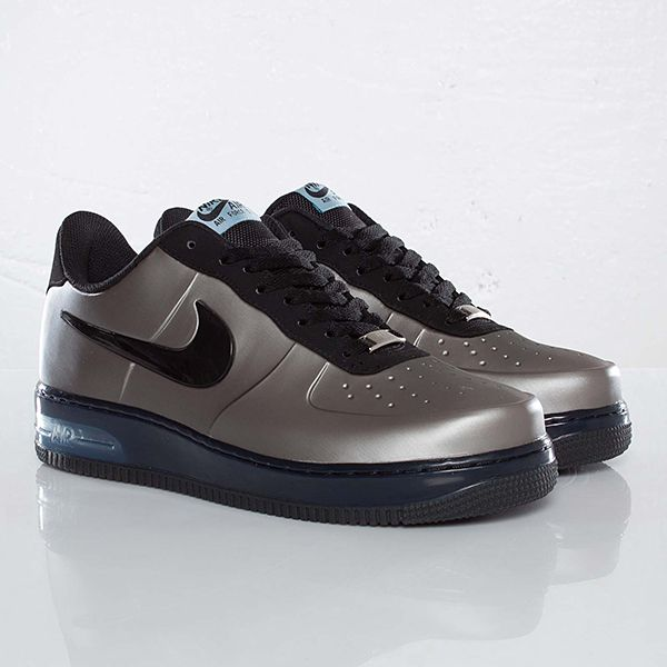 Air Force 1  A low cut version of the popular basketball high tops, these sneakers have a pewter/metallic grey foamposite upper, black Swoosh, light blue tags and logo and a blue translucent Nike Air midsole.