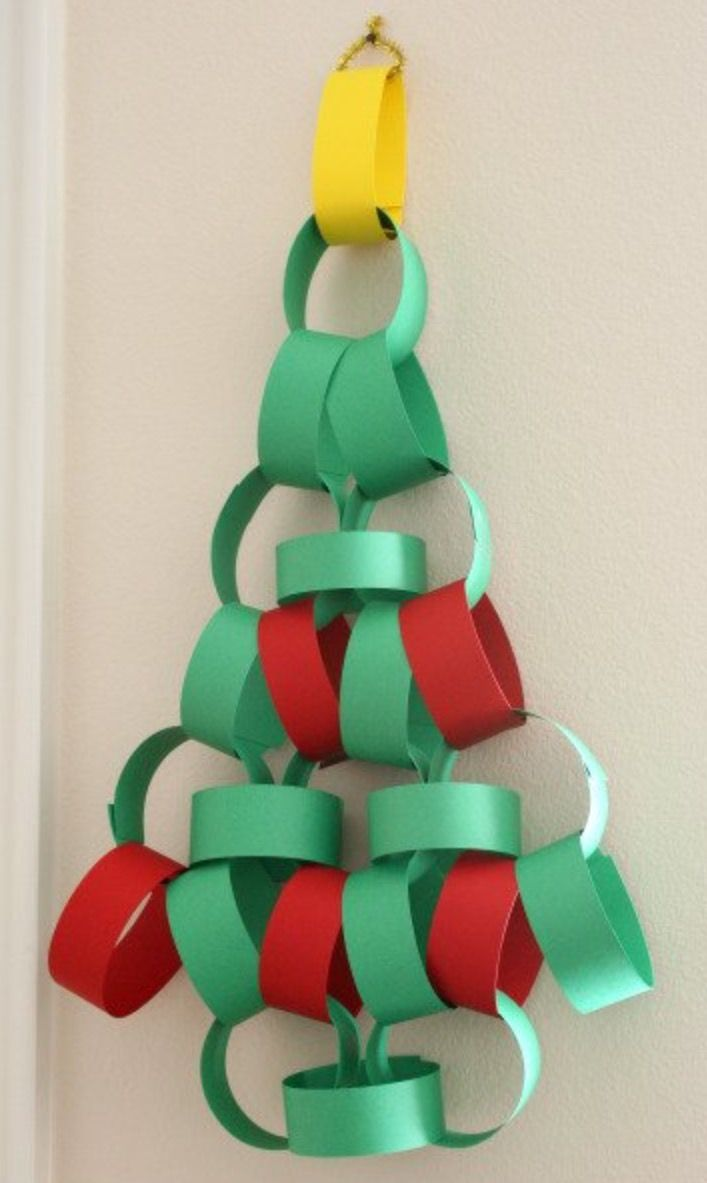 Christmas decorations ideas for kids - Paper Chain Christmas Tree Christmas Decorating Ideas Kids Crafts For Christmas Festival Season Diy Paper Hanging Xmas Tree