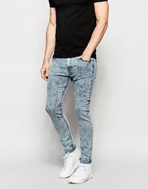 Pull&Bear – Superenge Jeans in Acid-Waschung