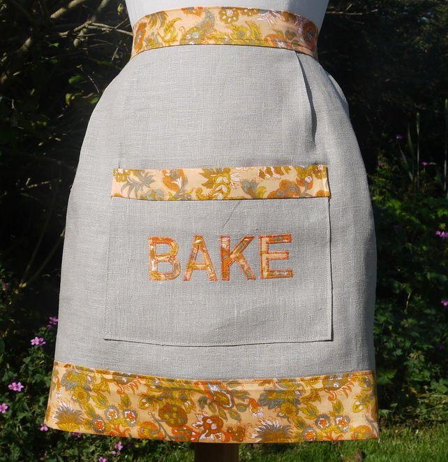 Half Apron Pinny Vintage Linen Pocket Applique Natural Orange £10.00