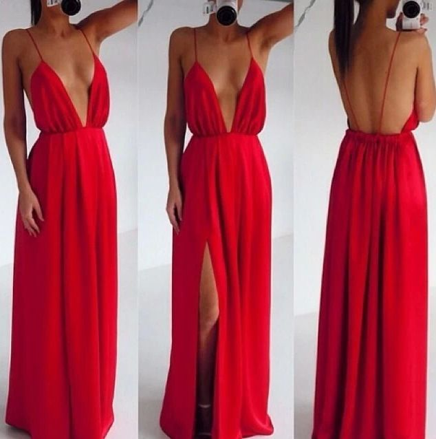 Sexy Red Deep V Neck Open Back Long Prom Dress With Slit Leg