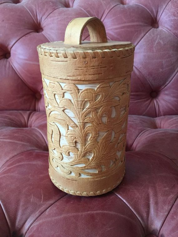 Vintage Russian Birch Box // Hand made birch wood souvenir
