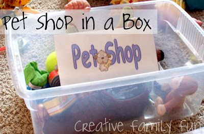 A pretend play set-up contained in a box - easy to get out and put away! What kids of pretend-play activities do your kids enjoy the most?