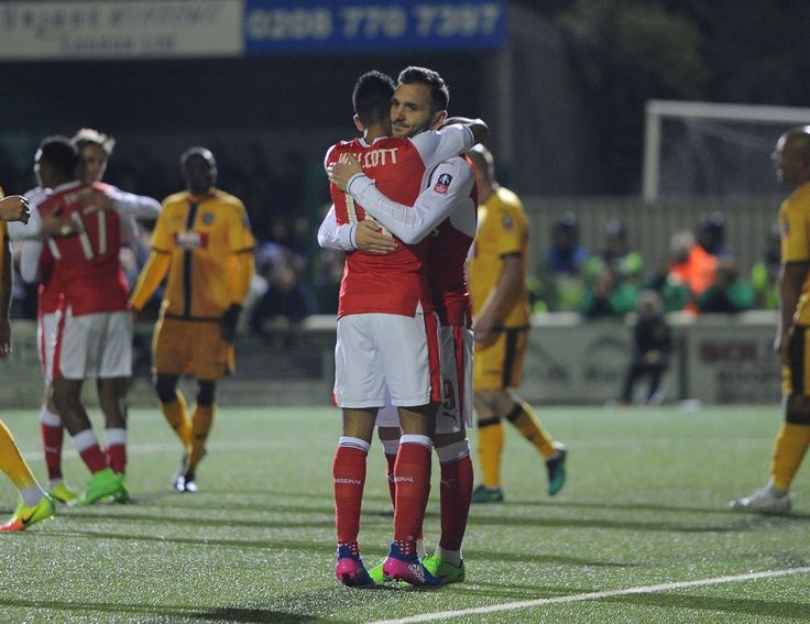 Our two goal scorers: Theo Walcott and Lucas Perez. Sutton United 0-2 Arsenal (February 2017)