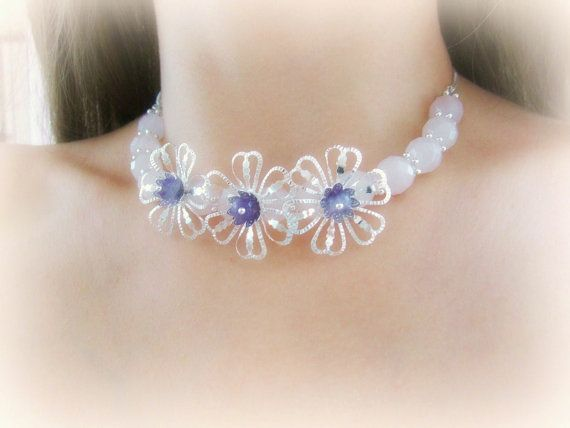 Flowers choker necklace amethyst and rose by MalinaCapricciosa