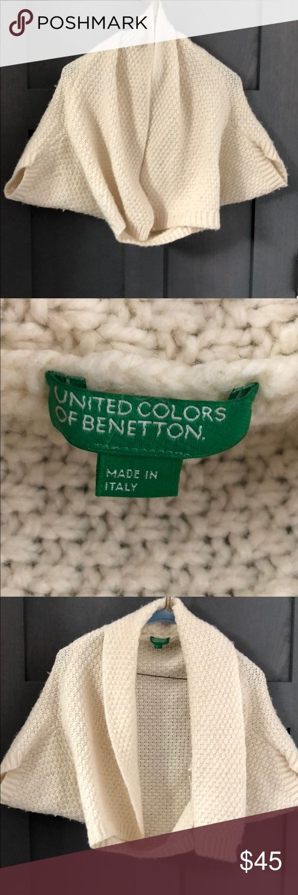 Vintage United colors of Bennetton capelet Cream wool Cape! So lively over a dress or a tee shirt. Great quality and in good shape. United Colors Of Benetton Sweaters Shrugs & Ponchos