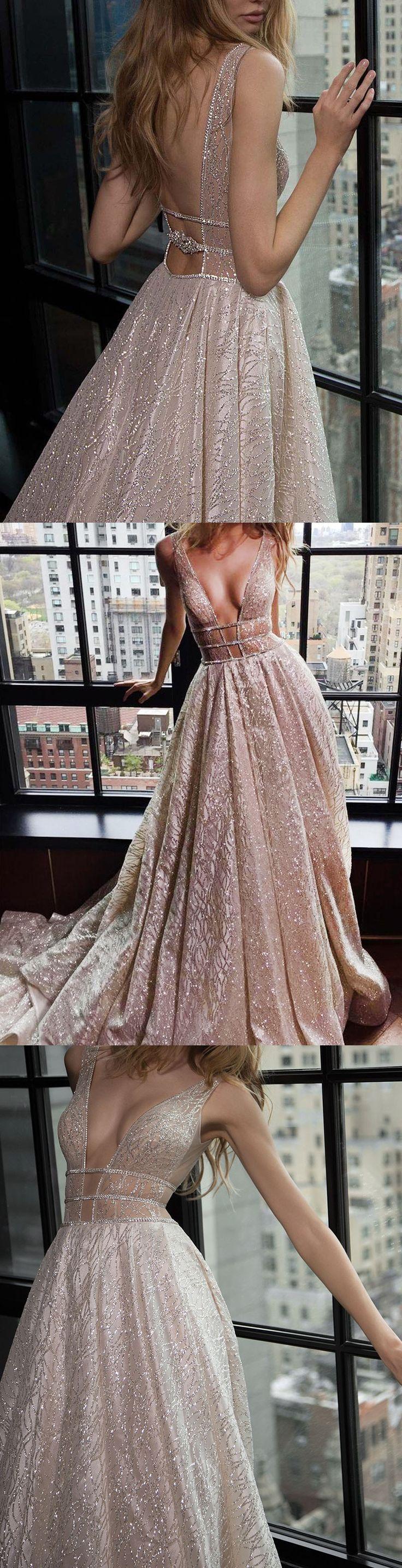 v neck prom dresses, plunging prom dresses, backless prom dresses, champagne prom dresses, sequined prom dresses