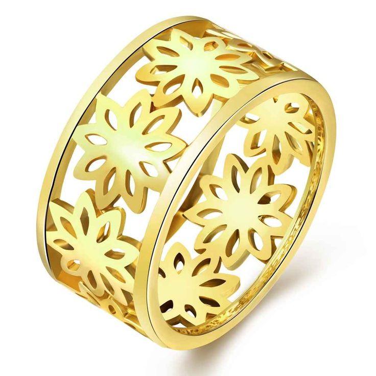 Envío Gratis aliexpress anillo acessorios para mulher Hollow flores rosa de oro plata 3 colores joyería SKGR315 precios en euros