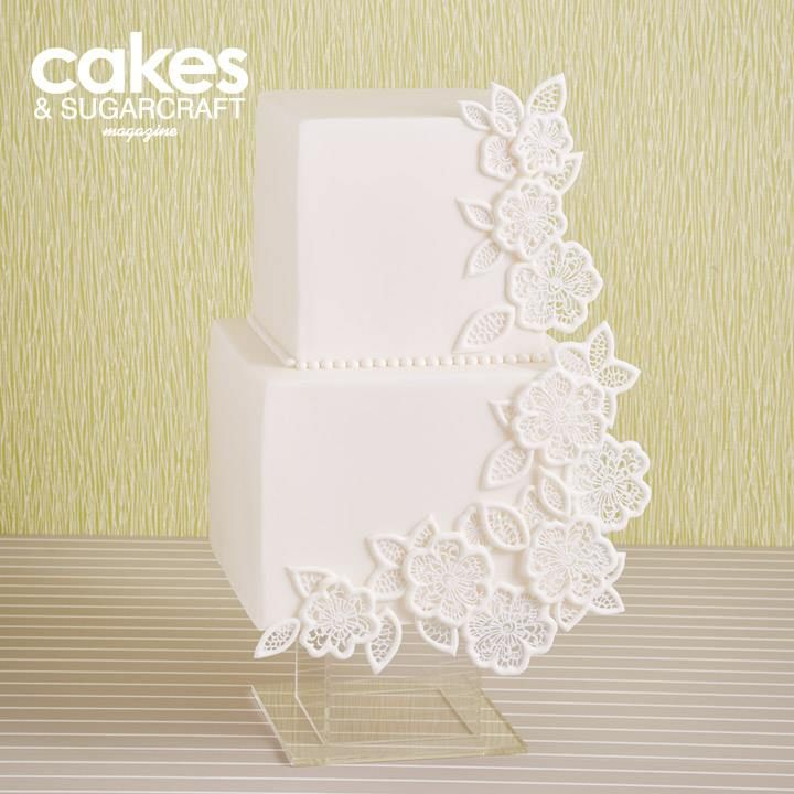 White decoupage lace cake with Flexi-Ice